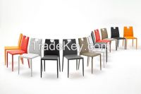 Colorful PU Dining Chair with Handle Leather Dining Chairs