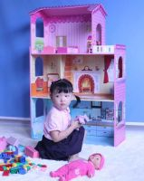 HT-DH005 modern wooden doll house wholesale in lovely home design