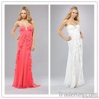 Hot Sale High Quality Sheath Sweetheart Long Chiffon Bridesmaid Dress
