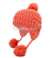 Hand knit Helmet hat