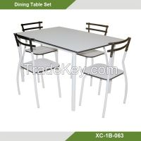 Home furniture-New design White Fashional Metal 5 pcs Dining table and chairs XC-1B-063