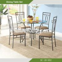 Dining Room set-Cheap Beauty Round Glass 5-pc dining room set XC-1B-052