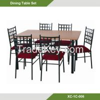 Dining Room sets-Cheap Beauty Square METAL & MDF 7-pc dining room set XC-1C-006