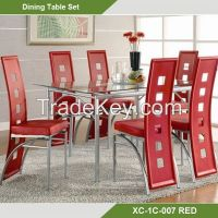 Dining Room sets-Cheap Tempered Glass Dining Room Furniture Sets/7 pcs dinin sets  XC-1C-007