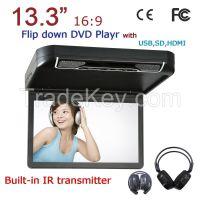 13.3'' Flip-down Car DVD Player with USB/SD(MP5), IR/FM Transmitter, HDMI, Wireless game