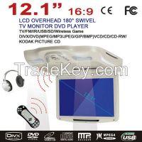 12.1'' Flip-down Car DVD Player with USB/SD, IR/FM Transmitter, Wireless game