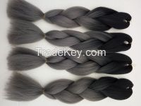 "Wholesale Synthetic Jumbo Ombre Braiding Hair Extension 24"" 100g/piece Black/dark grey African Ombre Box Braiding Styles"