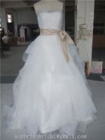 Oganza tulle satin wedding dress bridal gown basic style with ribbon sash, factory price