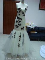 Ivory fishtail mermaid taffeta tulle pleating appliqued wedding dress bridal gown