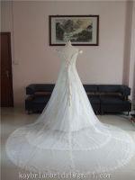 Lace tulle v neckline off-shoulder maternity cathedal wedding dress bridal gown