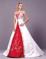 Ivory/Burgundy Embroidery A Line Wedding Dress, Bridal Gown with Skirt