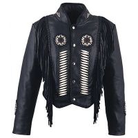 WOMEN LEATHER JACKET WESTERN STYLE BONE WORK BEADS FRINGES COAT
