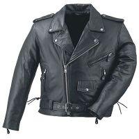 MEN BIKER LEATHER JACKET BLACK MOTORCYCLE STYLE COAT BLACK