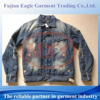 Stock fashion mens jean jacket with wool