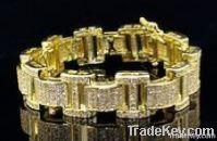 Wholesale Hip Hop Micro Pave 925 Sterling Silver Bracelet