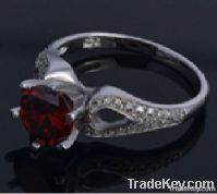 Wholesale Color Stone 925 Micro Pave Sterling Silver Lady Ring