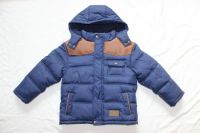 Boys navy jackets with contrast color leather