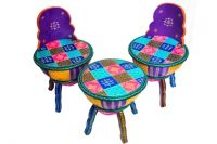 WOODEN  PAINTED  ROUND  STOOL WITH 2 ROUND CHAIR SET OF 3
