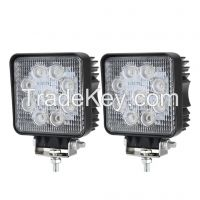2pcs 27W LED Work Light Square Flood Lamp Bar 4x4 4WD Driving Auto 12V 24V
