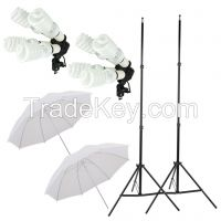 New Studio Photography Soft White Umbrella Light Lighting Stand Kit 8 x 45W