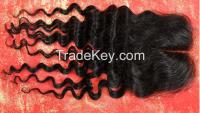 """Cheap  100% human hair lace top closure 4""""x4""""  brazilian hair"""