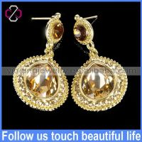 2014 Wholesale Fashion Imitation Jewellery Crystal & Rhinestone Dubai Gold Earring