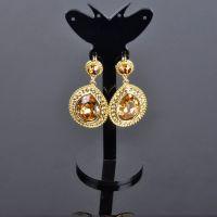 2014 Wholesale Fashion Imitation Jewellery Crystal & Rhinestone Dubai Gold Earring