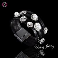 2014 New Design Pearl & Crystal Leather Bracelet For Women