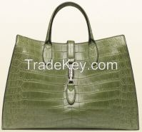 Leather handbag with tonal stitching