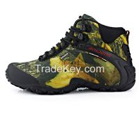 2015 Genuine leather men's shoes outdoor professional climbing shoes waterproof hiking shoes camouflage camping shoes