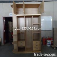 sliding door wardrobe with vertical wall shelf