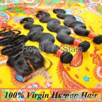 Virgin Human Hair 4pcs/lot, BodywaveLace Closure With3 pcsHair Bundles