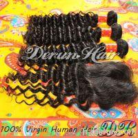 3Bundles Deep wave Virgin Human Hair Weft with Lace Closure