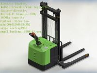 Walkie straddle/wide-leg Electric Stacker, 1400KG-1600KG capacity, Microlift brand or OEM, factory direclty, made in china