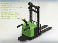 ride-on Fork-over/narrow-leg Electric Stacker, 1400KG-1600KG capacity, Microlift brand or OEM, factory direclty, made in china