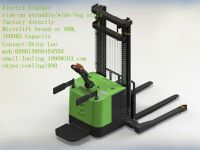 ride-on straddle/wide-leg Electric Stacker, 1400KG-1600KG capacity, Microlift brand or OEM, factory direclty, made in china