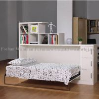 GJ3001 side fold wall bed with shelves/ hidden bed/ murphy bed/ library bed