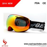 High quality fashion snow boarding goggles with double lens uv400