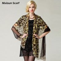 Fashion long women georgette silk leopard scarf