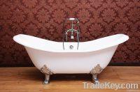 Double slipper cast iron bathtub