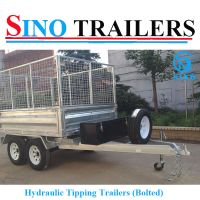 10X6 FT Galvanised Hydraulic Tipping Box Trailer with Cage