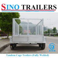 Galvanized Tandem Axle Box Trailer with Mesh Cage