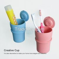 Creative Wall Mounted Toothbrush Cup in Bathroom
