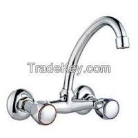 Wall Mounted Double Handle Zinc Bathtub Faucets