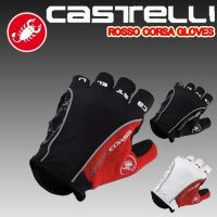 Castelli Rosso Corsa Emboidery Gloves Bike Cycling Half FINGER GlovesSummer Bike Bicycle Racing Fingerless Sports Gloves