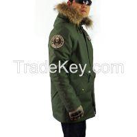 Seibertron M65 Slim Fit Field Coat Raccoon Fur Collar Hooded Jacket Parka Winter Long Coat