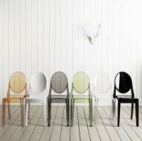 plastic ghost amber chair PC-102A