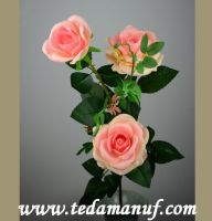 110cm 3 heads artificial flower of pink silk rose branch