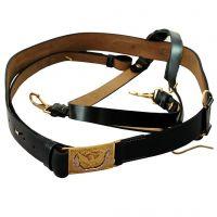 Civil War Leather Sword Belt With Brass Eagle Buckle And Shoulder Strap