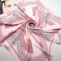 pink twill silk women fashion musilm square scarf
